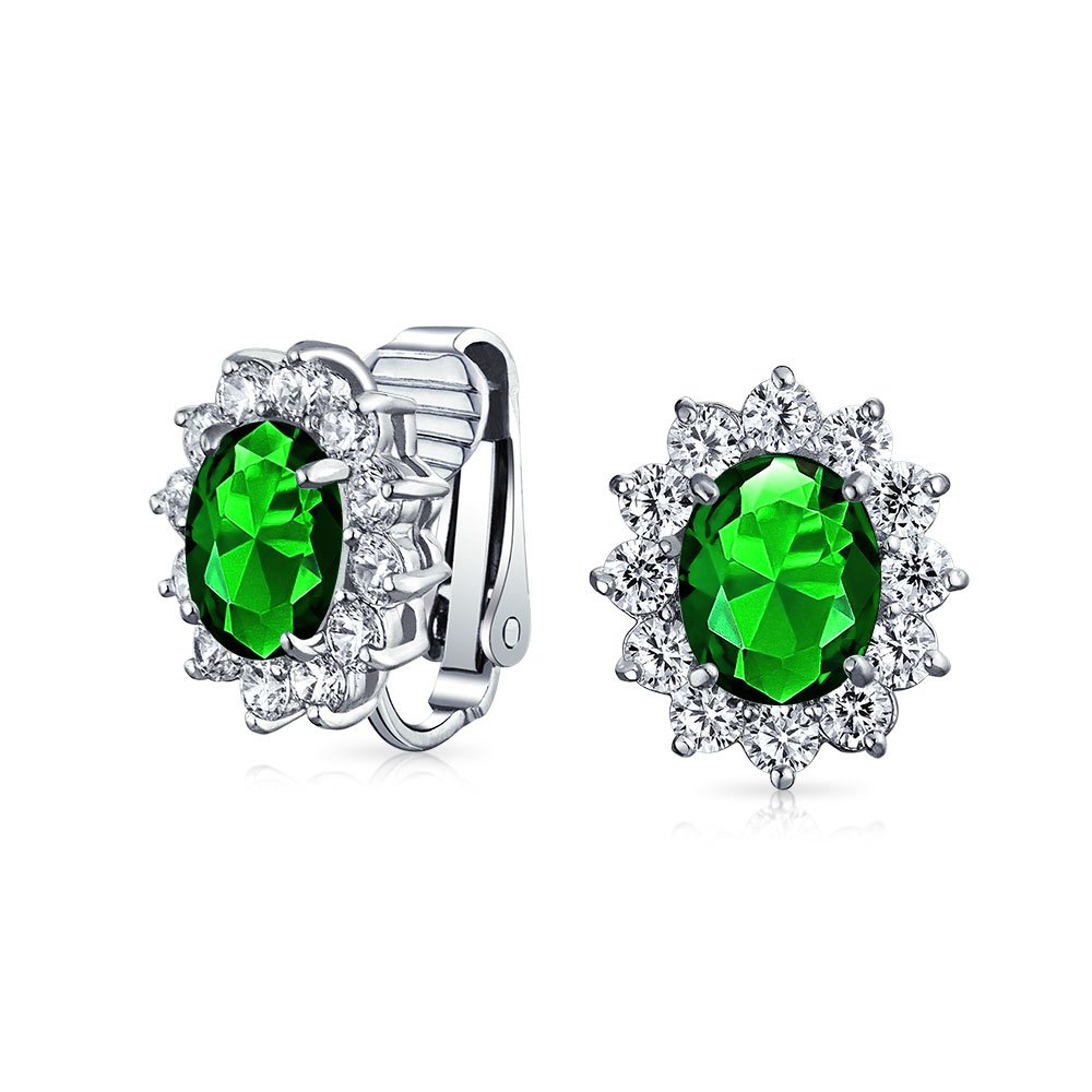 Bling Jewelry Oval Simulated Emerald CZ Clip On Earrings Rhodium Plated Brass MY-E200905GR