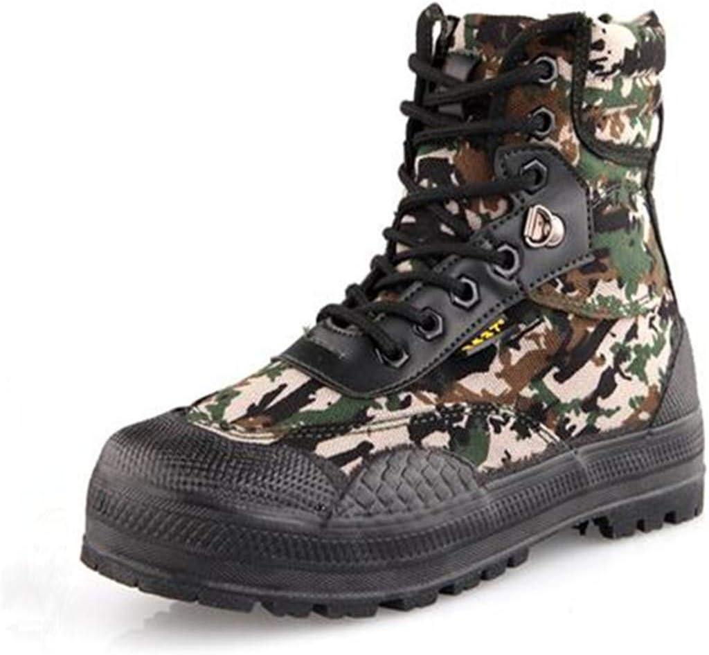 Stivali da uomo in pelle di tela con lacci tattici militari da uomo Nero