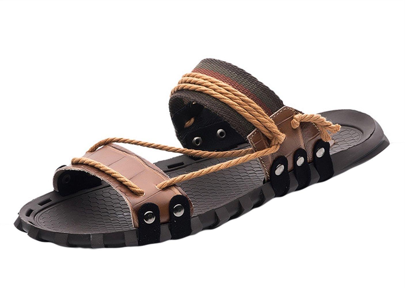 Insun Zapatilla de Cuero Para Hombre Sandalias de Playa 46 EU|Marrón 1