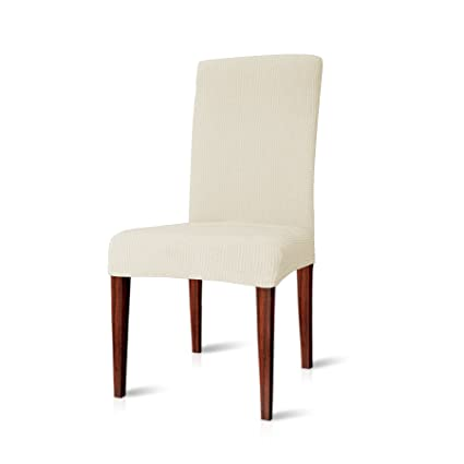 Chunyi Jacquard Polyester And Spandex Chair Covers For Dining Room 4 Ivory White