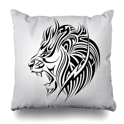 Amazon Com Ahawoso Throw Pillow Cover Tribal Graphic Roaring Lion