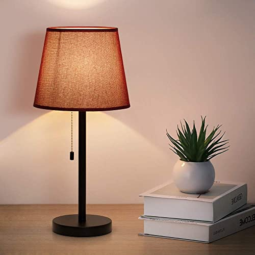 Table Lamp Set of 2 Vintage Nightstand Lamps with Red Wine Lamp Shade, Pull Chain Switch Desk Lamps for Bedrooms Office Living Room Dressers Coffee Table Study Desk