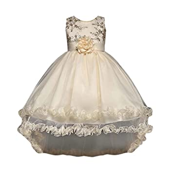 Vovotrade Kids Girls Bridesmaid Dress Children Flower Lace Embroidery Sleeveless Puff Skirt Wedding Formal Dresses for