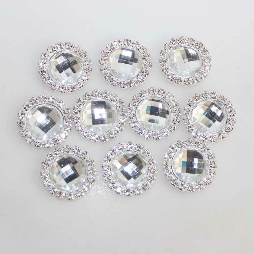 10Pcs 18mm Acrylic Diamante Rhinestone Buttons for Dress Jewelry Headband Making