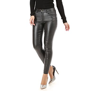 rétro gros en ligne plutôt sympa La Modeuse - Pantalon Femme Coupe Slim en Simili Cuir Effet ...