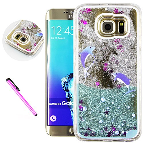 S6 Edge Cover Samsung Galaxy S6 Edge Cover for Girls EMAXELER 3D Creative Design Angel Girl Flowing Liquid Floating Bling Shiny Liquid PC Hard Cover for Samsung Galaxy S6 Edge Silver 2 Dolphin (Silver Two Dolphin)