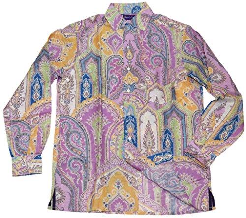 (Ralph Lauren Polo Purple Label Linen Dress Shirt Italy Paisley Blue Green Small)