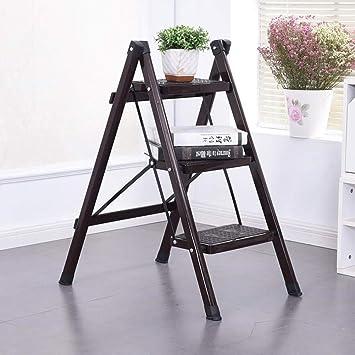 Escalera plegable de 3 pasos, escalera multiusos, escalera de escalera ligera, portátil, ensanchamiento del pedal para el hogar, cocina, oficina, marrón: Amazon.es: Bricolaje y herramientas