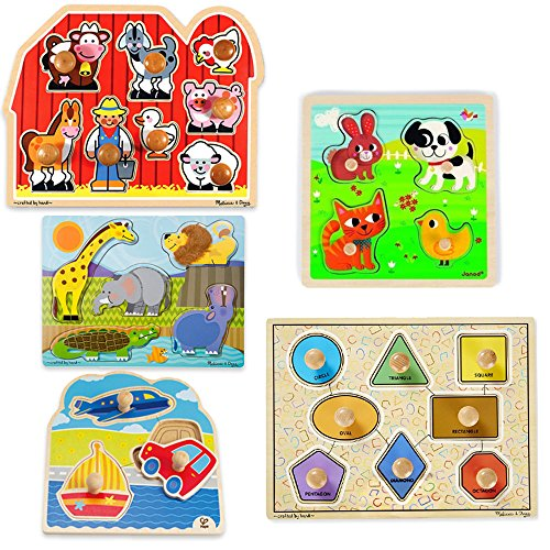 First Puzzles for Toddlers Bundle of 5 Jumbo Knob Wooden Puzzles - Educational Toys Planet