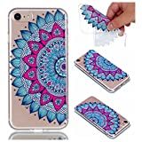 for iPhone 8 Case, Cover for iPhone 7, CrazyLemon Ultra Thin Transparent Soft TPU Clear Silicone Gel Skin Shell Varnish Technology Embossed 3D Creative Pattern Design Durable Shock Proof Scratch Resistant Rubber Protective Cover Case for iPhone 7 / iPhone 8 4.7 inch - Datura Flowers