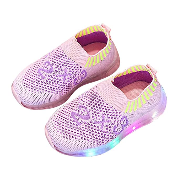 Anxinke Toddler Girls Outdoor Running Shoes Bowknot LED Light Sneakers