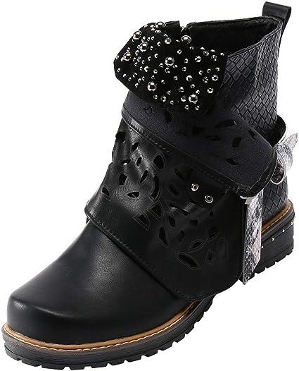 Femme Punk Lace Up Chunky Plateforme Talon Bloc Bottes Hautes Chaussures Taille Plus