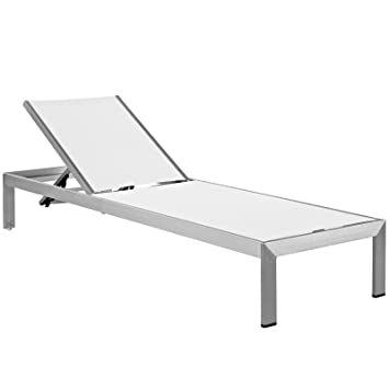 Modway Shore Outdoor Patio Aluminum Chaise Lounge Chair, Silver White