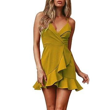 Jintime Vestido de mujer con volantes delgados y sexy para mujer, pack delgado, vestido