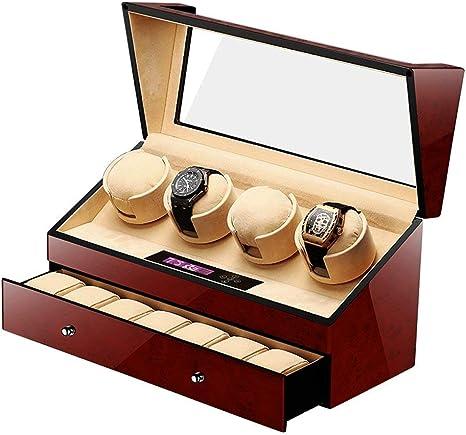 YLJYJ Caja Relojes Automaticos Bateria,4+6 Pilas Watch Winder 4 Relojes de Madera Caja Reloj Cajas Giratorias Marrón: Amazon.es: Deportes y aire libre
