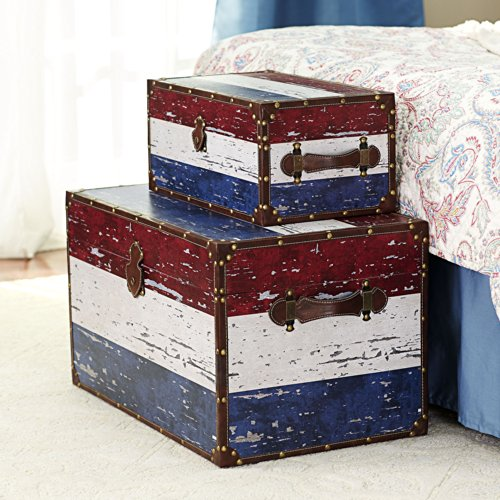 Household Essentials Decorative Storage Trunk, Red, White and Blue, Jumbo and Medium, Set of 2 by Household Essentials (Image #1)