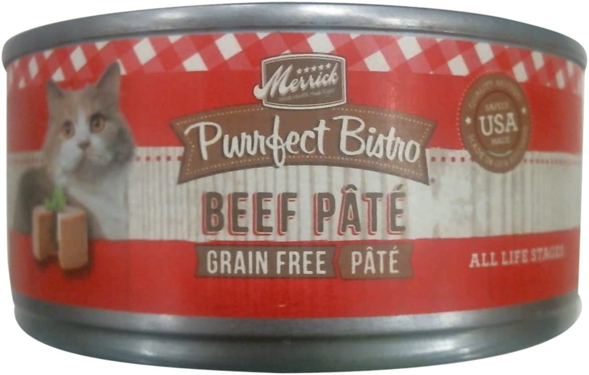 Merrick Purrfect Bistro Grain Free Beef Pate Canned Cat Food, 5.5 oz, Case of 24