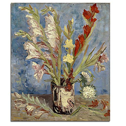 Wieco Art Vase with Gladioli and China Asters Large Modern Floral Giclee Canvas Prints Wall Art by Van Gogh Famous Artwork Oil Paintings Reproduction Abstract Flowers Pictures for Office Decor