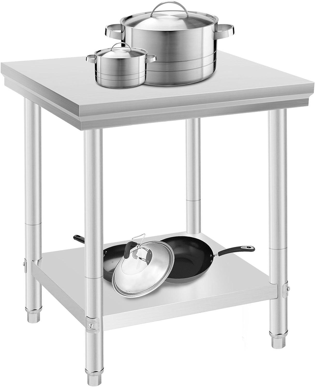 Oldriver 60 x 76 x 80 cm Mesa de Trabajo para Cocina Profesional Acero Inoxidable Cocina Catering Mesa de Trabajo para Cocina de Acero Inoxidable: Amazon.es: Hogar