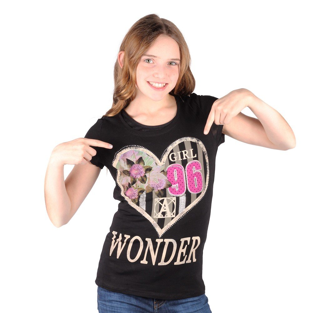 Lori/&Jane Big Girls Black Graphic Print Wonder Short Sleeve Top 16