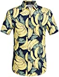 SSLR Men's Banana Short Sleeve Casual Button Down Hawaiian Shirt (3X-Large, Navy)