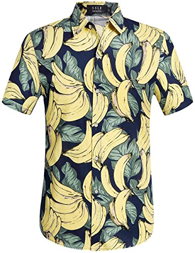 SSLR Men's Banana Short Sleeve Casual Button Down Hawaiian Shirt (4X-Large, Navy) -