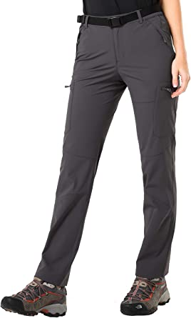 Stretchy and Water-Resistant MIER Womens Quick Dry Cargo Pants Lightweight Tactical Hiking Pants with 6 Pockets