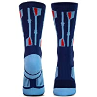 ChalkTalkSPORTS Athletic Half Cushioned Crew Socks | Rowing Crew Oars Design | Navy/Light Blue/Red