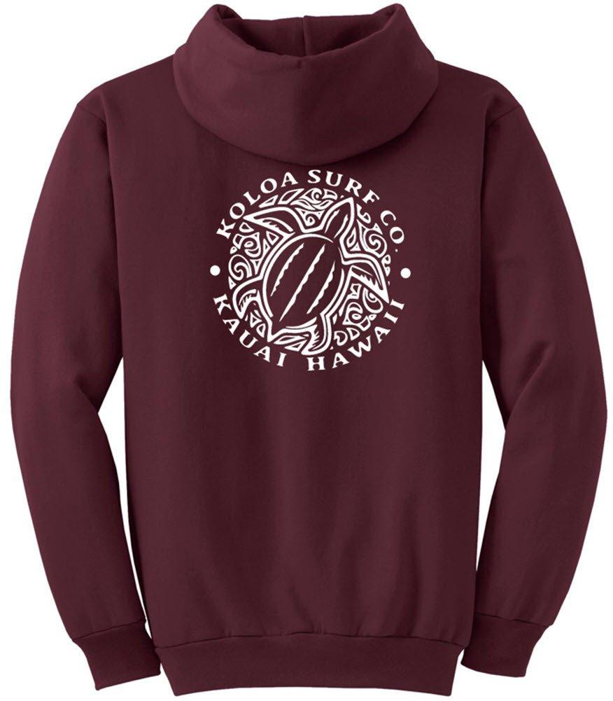 Joe's USA Koloa Surf Honu Turtle Logo Hoodie, Hooded Sweatshirt-L-Maroon/w by Joe's USA (Image #2)