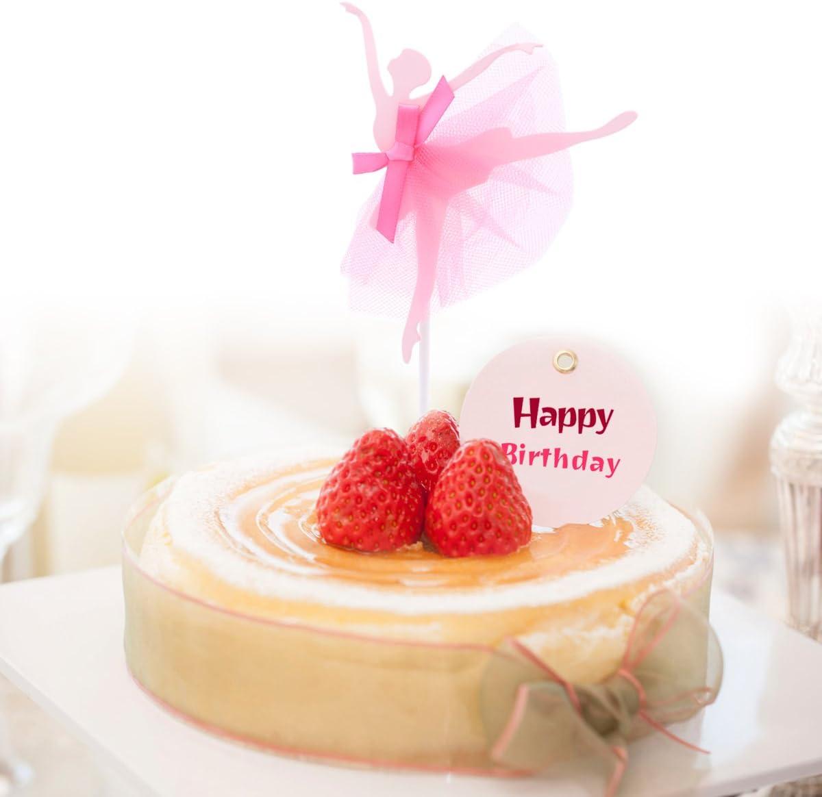 Red BESTOYARD 5pcs Ballerina Girls Cupcake Picks Birthday Cake Topper Cocktail Decoration Sticks Wedding Birthday Party Supplies