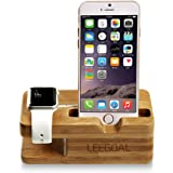 Leegoal(TM) Bamboo Wood Charging Stand Station Dock for Apple Watch IPhone(Yellow)