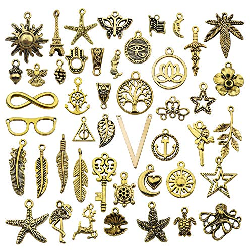 100g (About 86pcs) Craft Supplies Mixed Antique Gold Charms Pendants for Jewelry Findings Making Accessory for DIY Bracelet Necklace M249