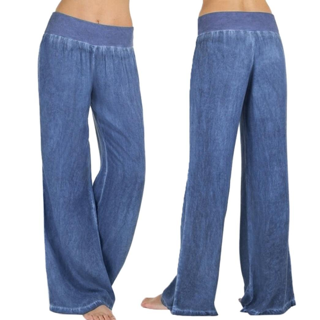 HTHJSCO Collection Women's Cotton Pull-on Pant with Elastic Waist, Wide Leg Palazzo Pants Jeans Trousers (Blue, XL)