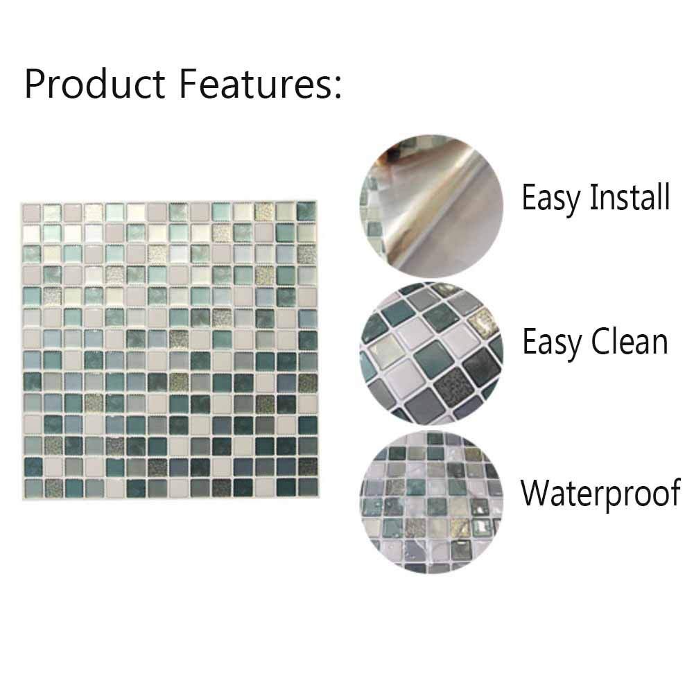 Kitchen Backsplash Smart Tiles Self Adhesive Tiles Peel and Stick 3D Wall Tile Anti Mold Anti Oil PET Wall Decor Backsplash Panels for Kitchen Bathroom White/Light Green/Turquoise Color(10 Tiles) by POPPAP (Image #8)