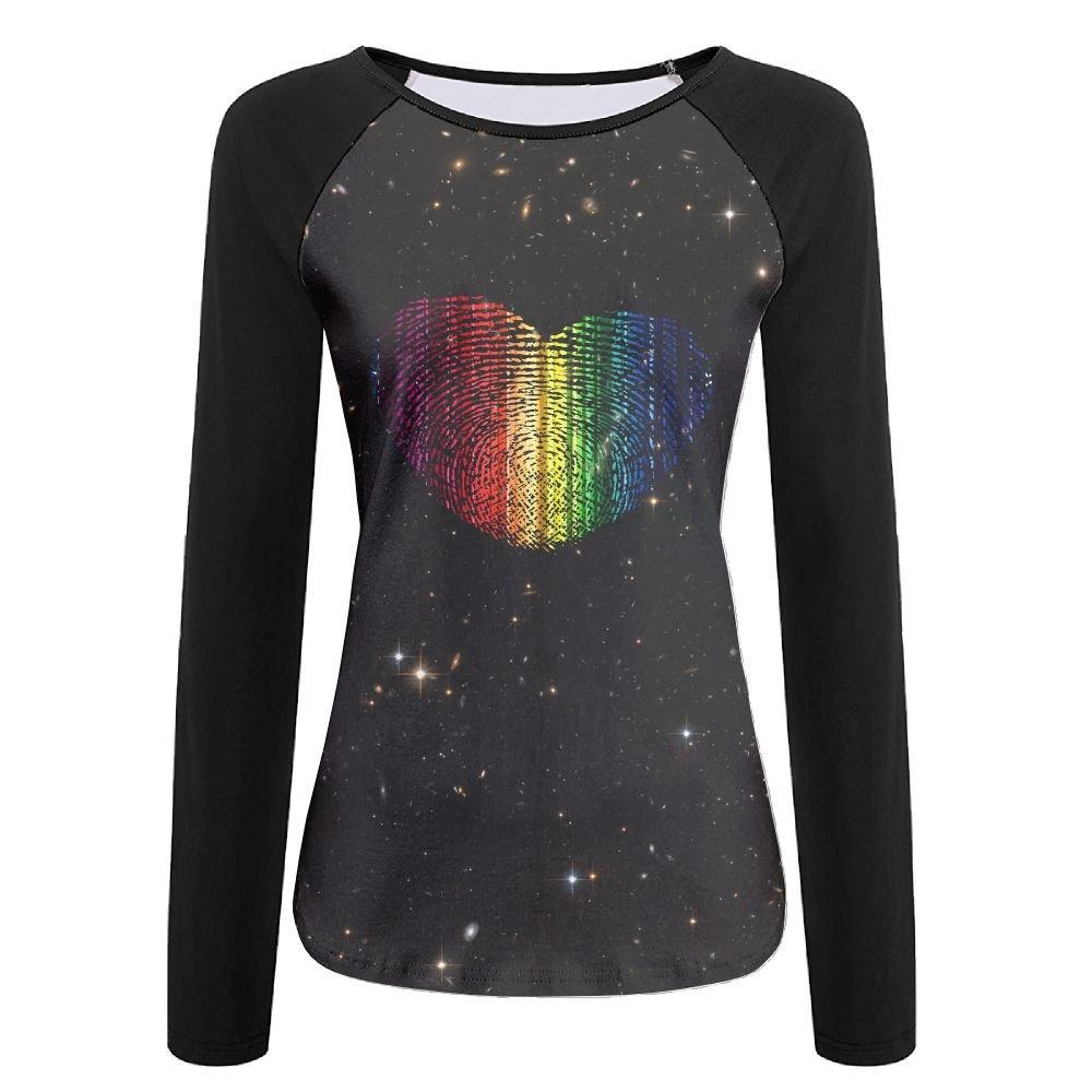 Rainbow Fingerprint Patriotic Love Heart Womens Print Crew Neck Long Sleeve Raglan T-Shirt Baseball Tshirt