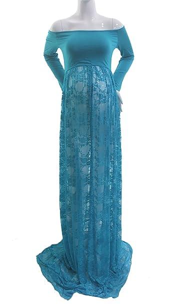 Hopeverl Mujeres de Hombro Dividir Frontal Encaje Floral Maxi Vestido Maternidad Baby Shower Vestido de Encaje