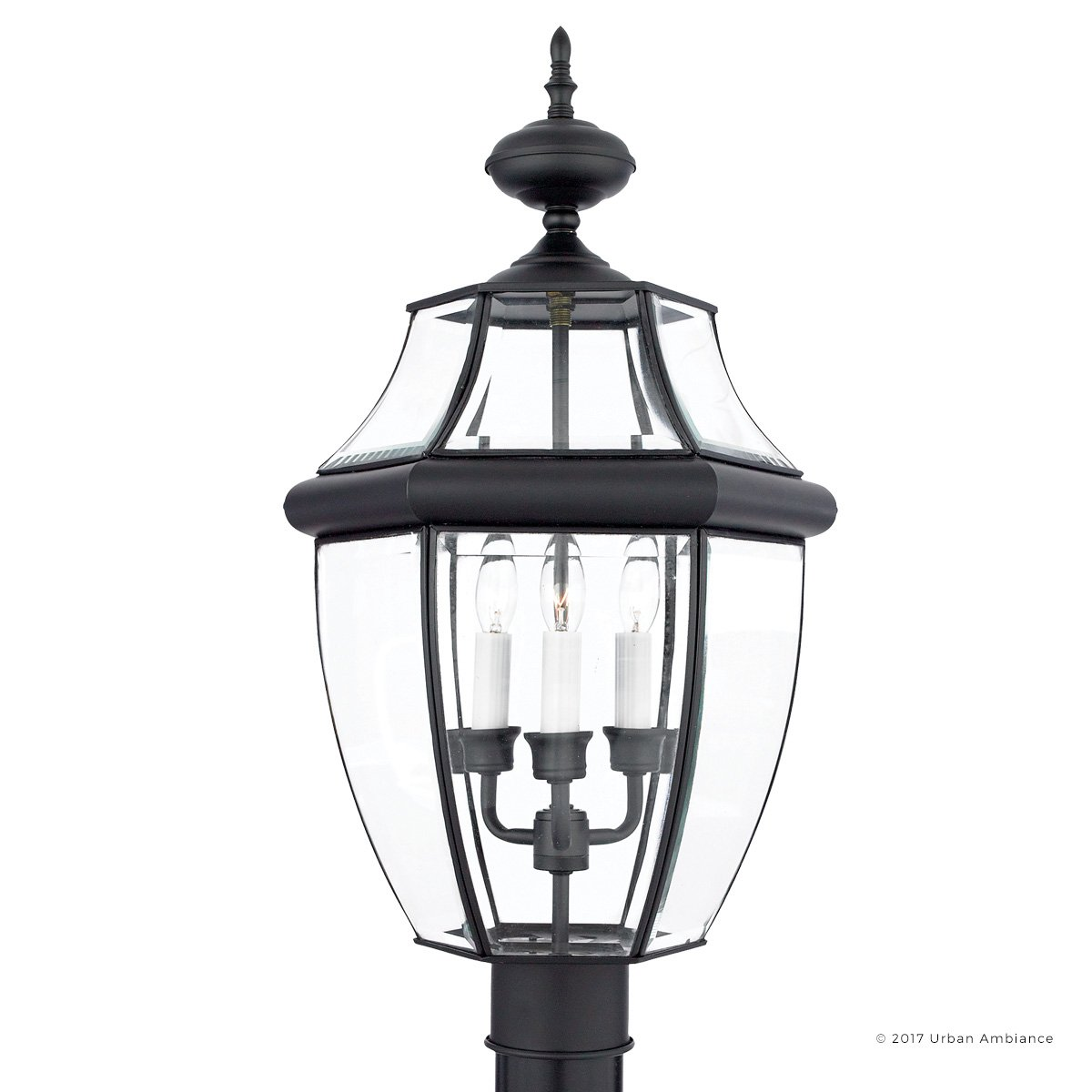 Luxury Colonial Outdoor Post Light, Large Size: 23''H x 12.5''W, with Tudor Style Elements, Versatile Design, High-End Black Silk Finish and Beveled Glass, UQL1150 by Urban Ambiance by Urban Ambiance