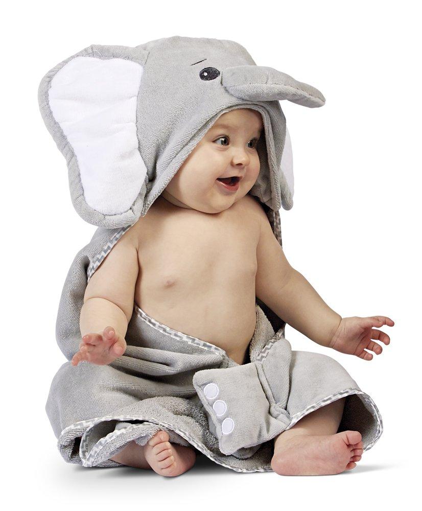 Bearington Baby Lil' Spout Elephant Hooded Bath Towel, 24'' x 24'' by Bearington Collection