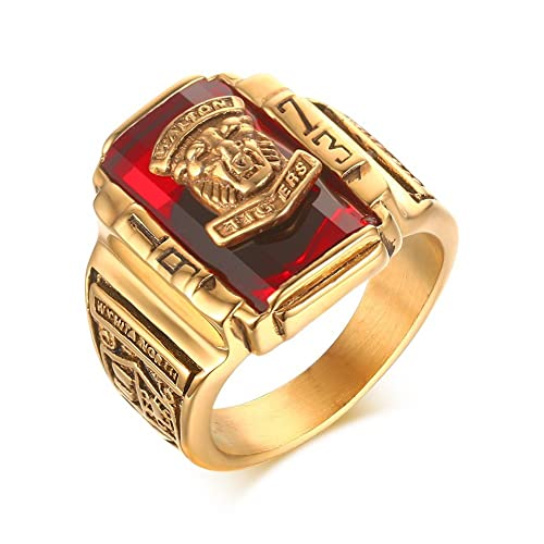 Review Mealguet Jewelry Gold Plated Stainless Steel Quality Classic 1973 Walton Tiger High School Class Rings, Black/Green/red/blue