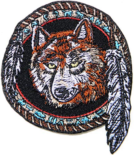 Wolf Dream Catcher Indian American Native Biker Rider Punk Rock Tatoo Jacket T-Shirt Patch Sew Iron on Embroidered Sign Badge Costume -