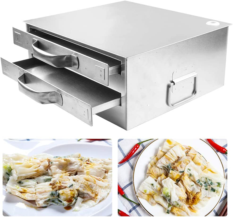 ZXMT Rice Noodle Roll Steamer Machine Chinese Rice Noodle Roll Food Steamer with Openable Top Lid and 3 Stainless Steel Trays for Home Resturant Kitchen