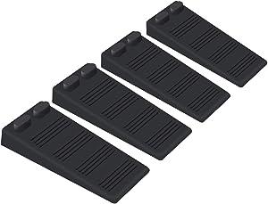 Door Stop Wedge, Door Stopper Rubber Flexible and Non Scratching Door Holder - Smart Stackable Slip-Resistant Design (4Pack, Black)