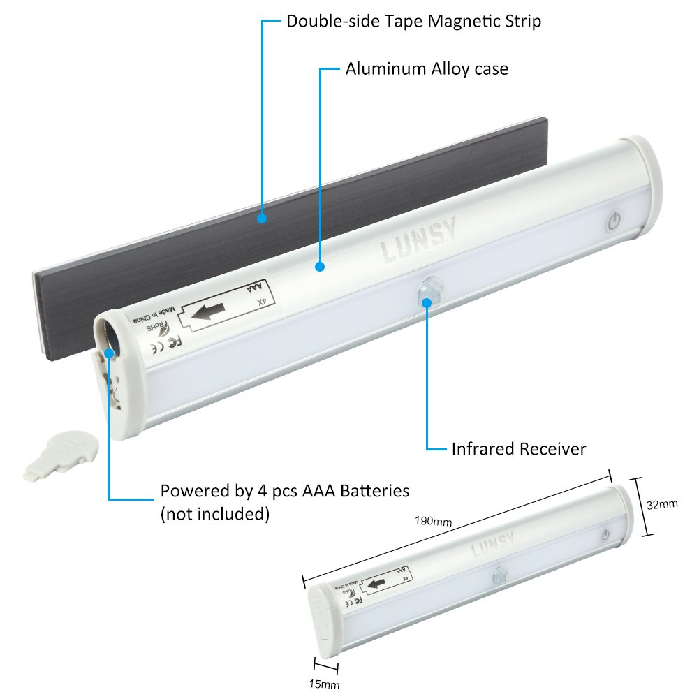 Lunsy Remote Control Under Cabinet Lighting Wireless Battery