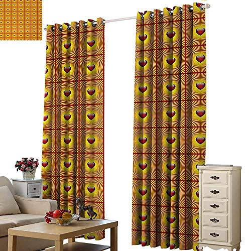 Room Darkening Wide Curtains Heart Love Symbol with Striped Sunburst Background for Romantic Valentines Day Blackout Draperies for Bedroom Living Room W108 xL96 Vermilion and Yellow