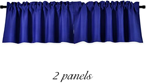 DONREN Royal Blue Valances for Bedroom – Small Window Rod Pocket Curtain Valances 42 by 15 Inch,2 Panels