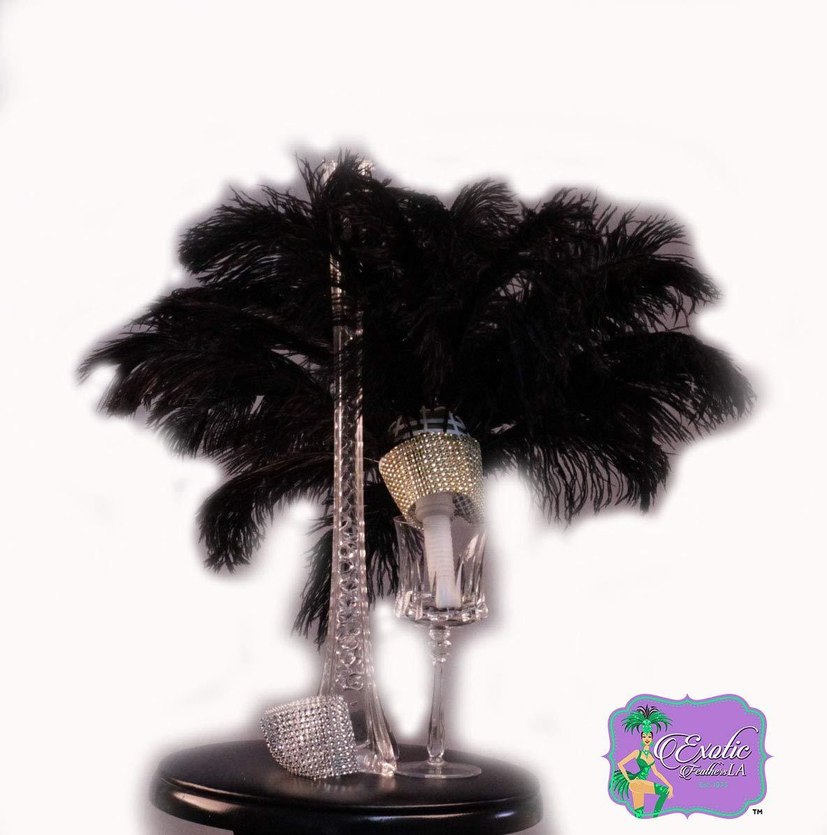 Special Sale 100 Pcs. BLACK OSTRICH Feathers Wholesale Bulk 13/18'' long DELUXE FEATHERS by Exotic Feathers LA est. 1973 (Image #4)