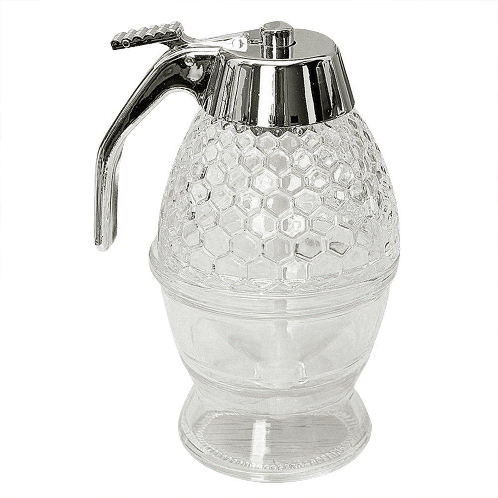 BESTONZON 200 ml dispensador de miel jarabe dispensador tarro con soporte de almacenamiento