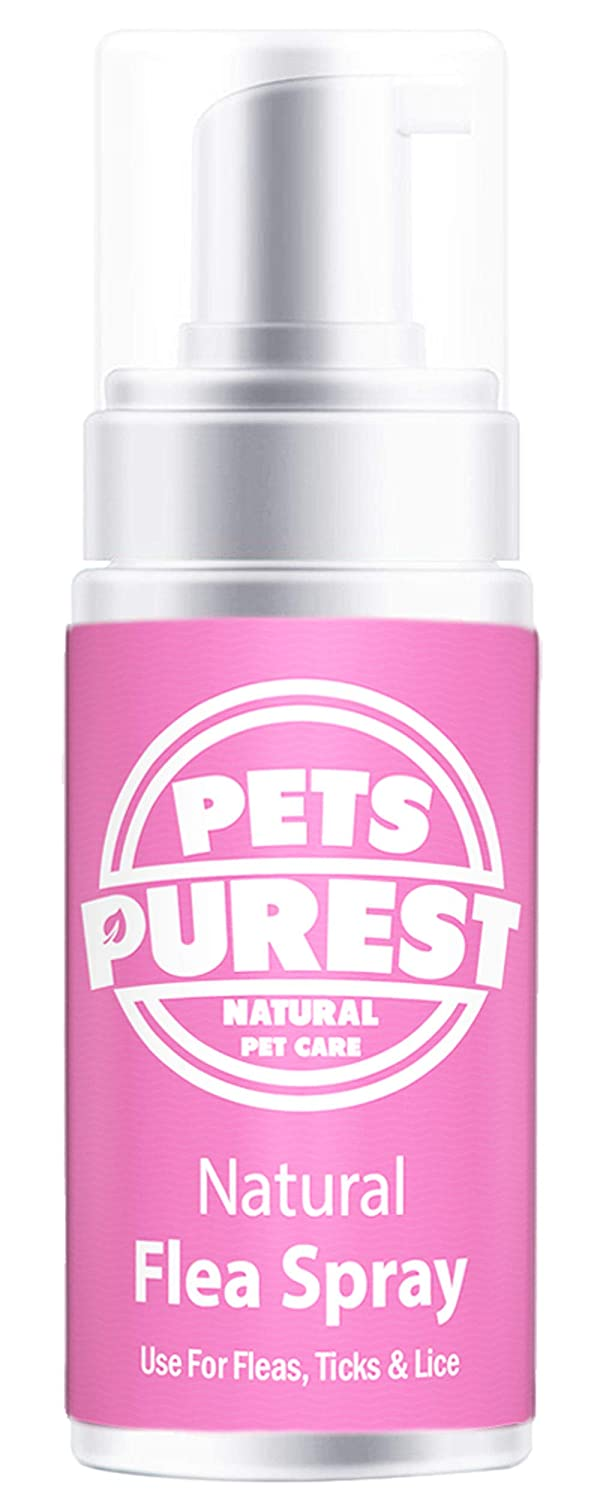 Pets Purest 100% Natural Flea Spray For Dogs, Cats & Pets | Fleas, Ticks & Lice | Powerful Concentrated 100% Natural Formula | Help Stop Your Pet Itching & Scratching | No Nasty Chemicals