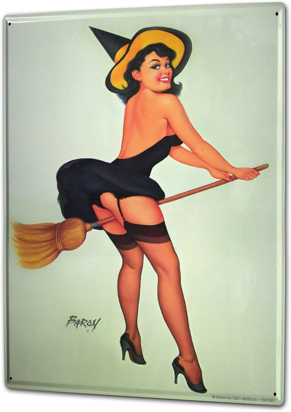 LEotiE SINCE 2004 Witch Broom hat Tin Sign Metal Plate Decorative Sign Home Decor Plaques 20x30 cm Metal Plate Shield Wall Decoration Decoration Decoration Retro Pinup Girl Advertising