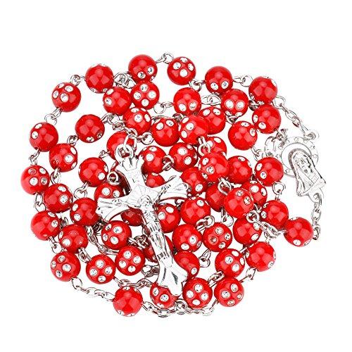 (Necklace Opeof Women Catholic Jesus Cross Rhinestones Rosary Beads Pendant Necklace Jewelry -)